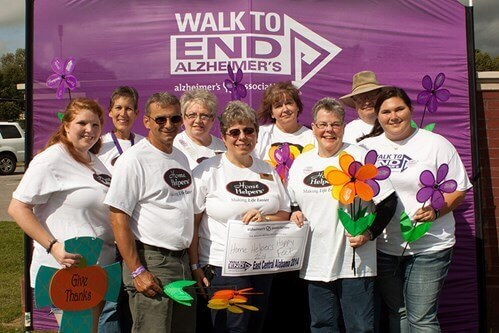 Kim McCutcheon and her team participate in the Walk to End Alzheimer's.