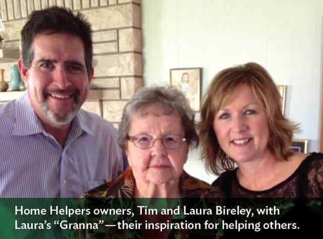 "Picture of three people with text that says, ""Home Helpers owners, Tim and Laura Bierley, with Laura's ""Granna"" - their inspiration for helping others."""