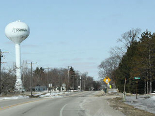 road and tower that says Dousman