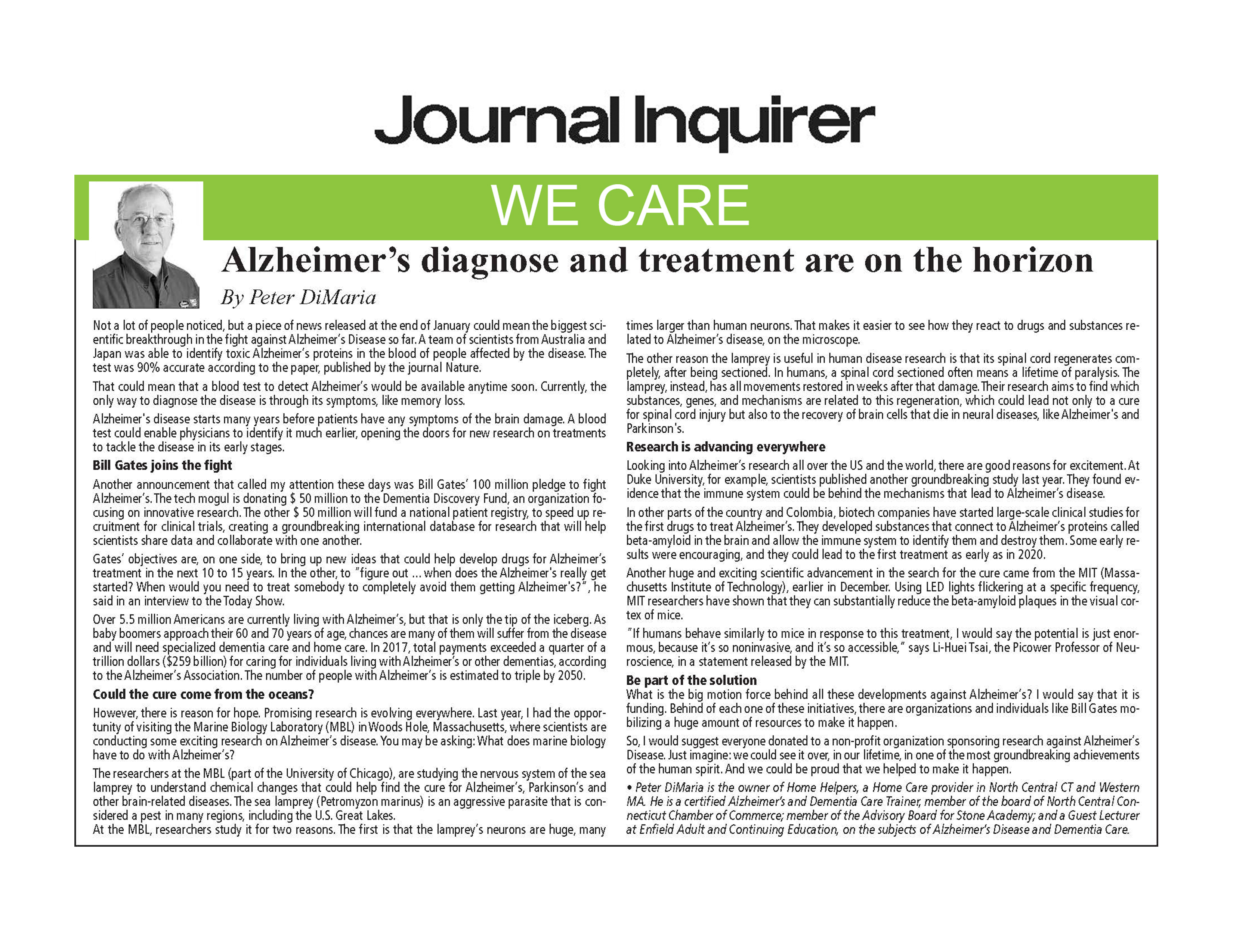 "Peter DiMaria's ""We Care"" column about Home Care, Elderly Care, Dementia Care and Alzheimer's Care is published by-weekly in the Journal Inquire"