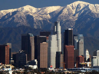 Los Angeles City With Snowy Mountains