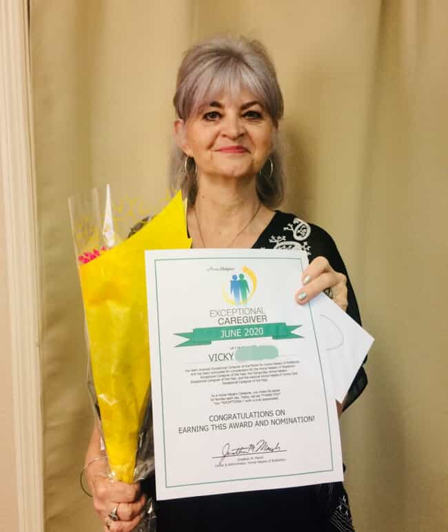 Vicky, Exceptional Caregiver of the Month for June 2020