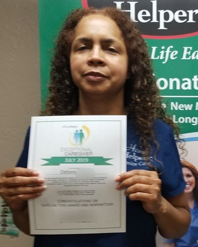 Debora exceptional caregiver of the month