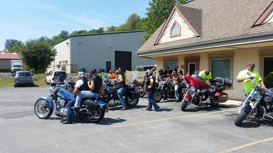 Group of bikers parked